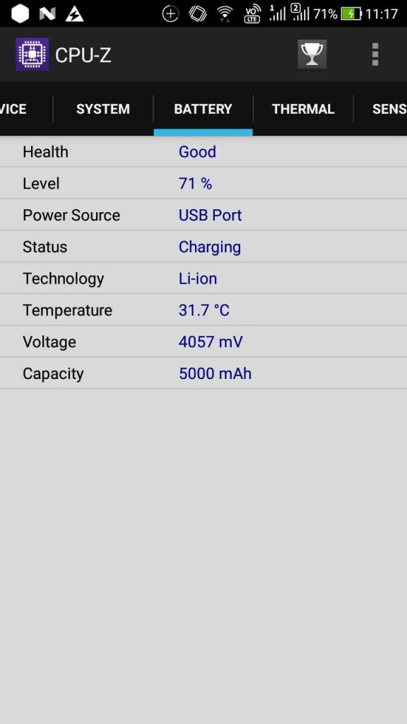 ZenFone4 Max Pro (ZC554KL) CPU-Z BATTERY