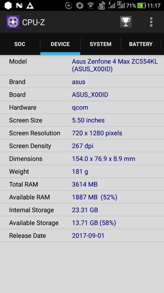 ZenFone4 Max Pro (ZC554KL) CPU-Z DEVICE