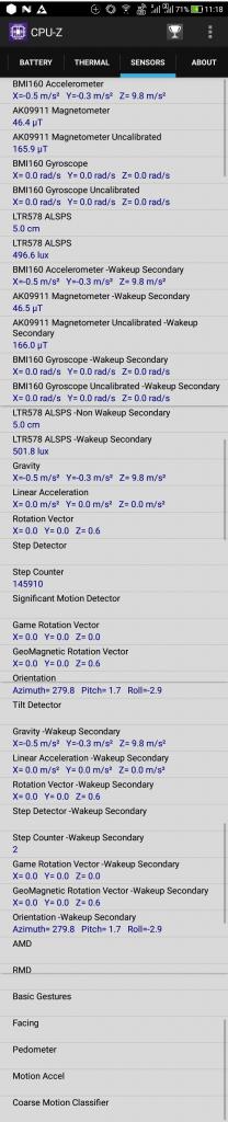 ZenFone4 Max Pro (ZC554KL) CPU-Z SENSORS