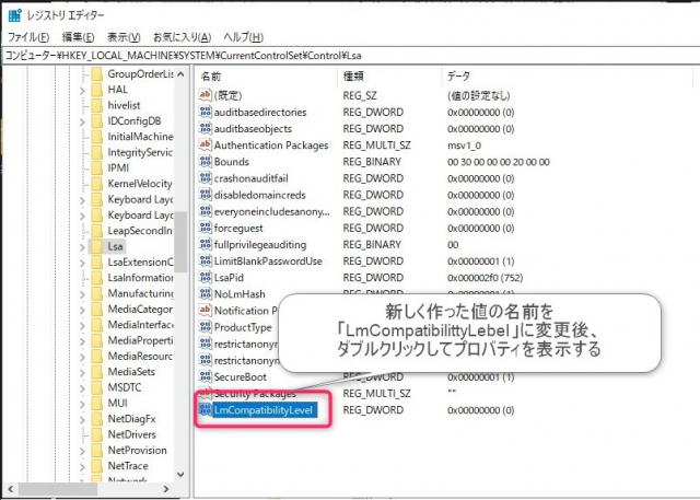 Windows10から古いNASにアクセスできない場合の対処方法 レジストリ値リネーム